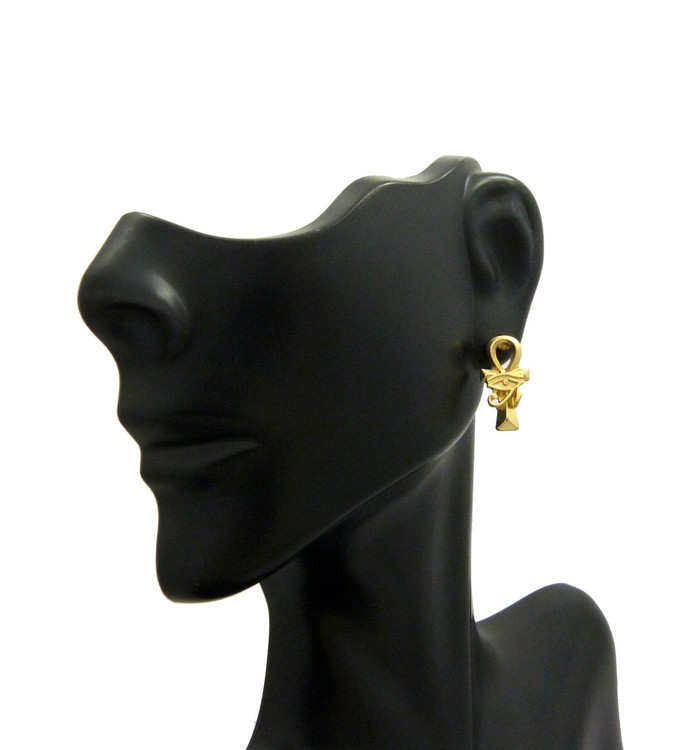 14k Gold Ankh Cross Eye Or Ra African Egyptian Earrings
