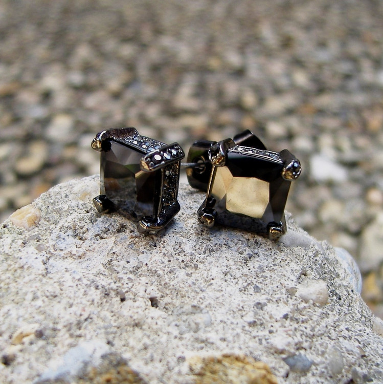Black on Black Princess Cut Hip Hop Bling Earrings