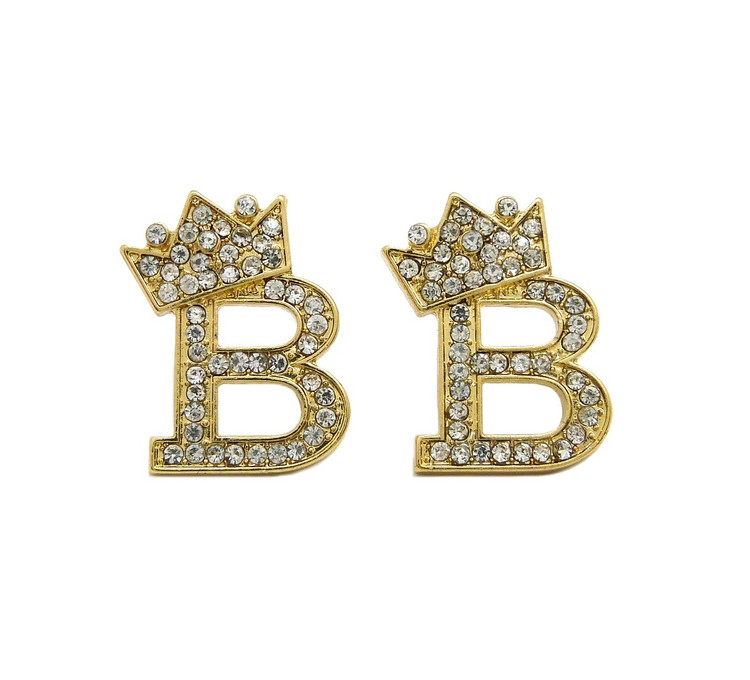 Diamond Cz Crowned Initial B Iced Out Earrings 14k Gold