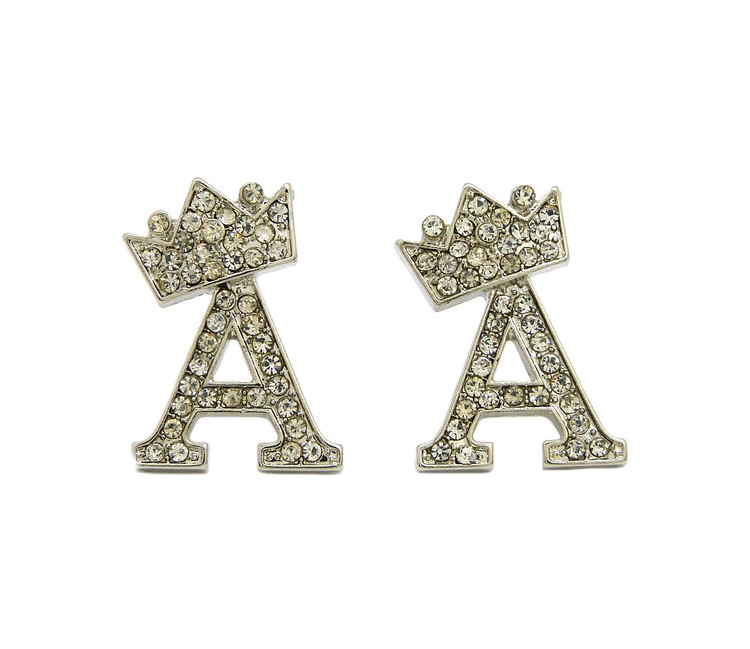 Crowned Initial A Iced Out Earrings