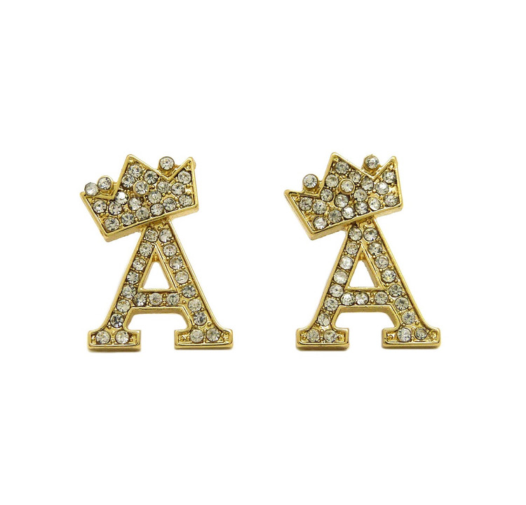 Initial A Iced Out Earrings 14k Gold