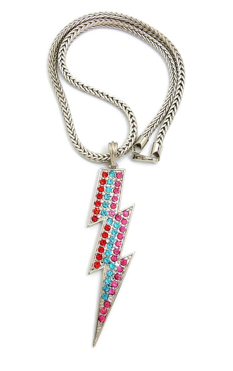 Lightning Bolt Simulated Diamond Iced Out Necklace