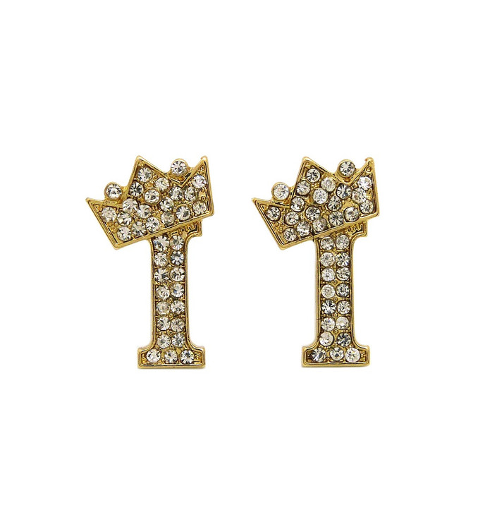 Diamond Cz Crowned Initial I Iced Out Earrings