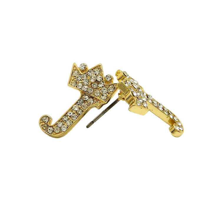 Diamond Cz Crowned Initial J Iced Out Earrings