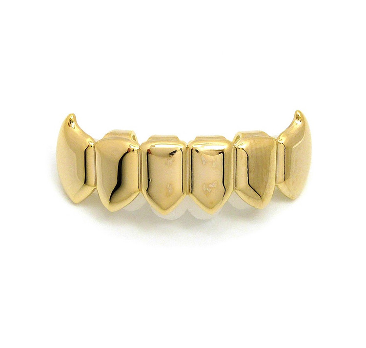 Vamp Style 14k Gold Custom Bottom 6 Teeth Vampire Fangs Grillz