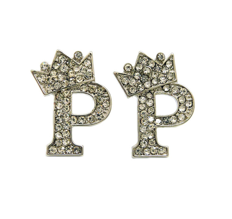 Diamond Cz Crowned Initial P Iced Out Earrings