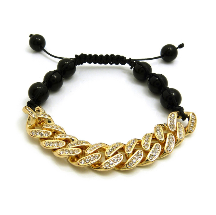 12mm Iced Out Cuban Link Black Stone Bead Adjustable Knotted Bracelet