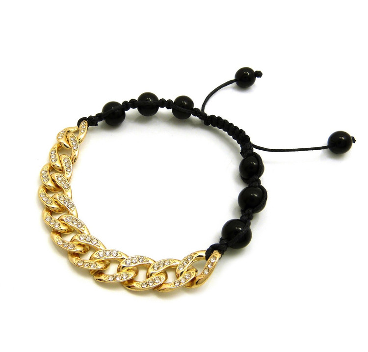 10mm Iced Out Cuban Link Black Stone Bead Adjustable Knotted Bracelet