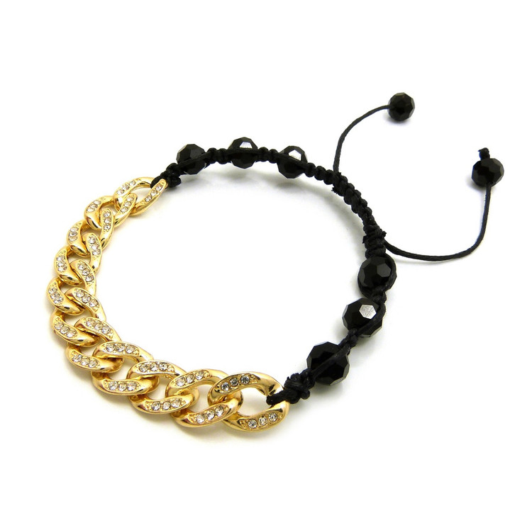 10mm Iced Out Cuban Link Black Disco Stone Bead Adjustable Knotted Bracelet