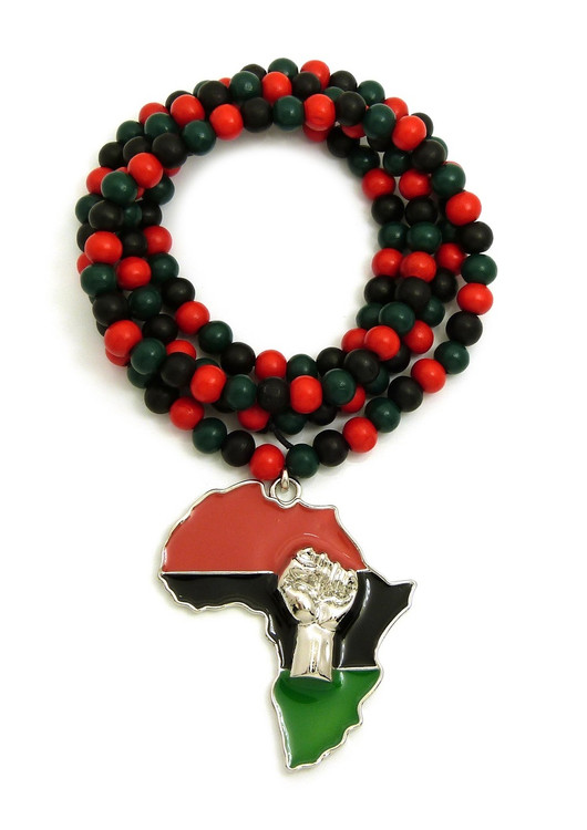 .925 Sterling Silver Mother Africa Black Power Fist Multi Color Bead Chain