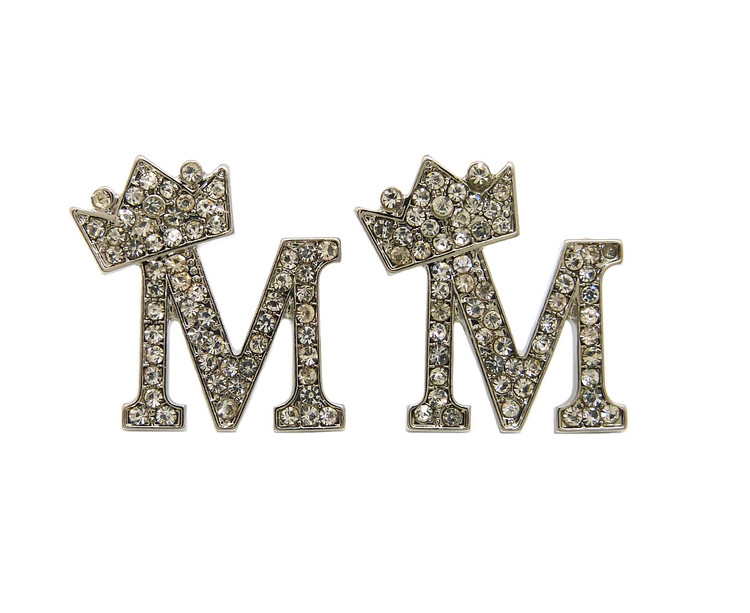 Diamond Cz Crowned Initial M Iced Out Earrings