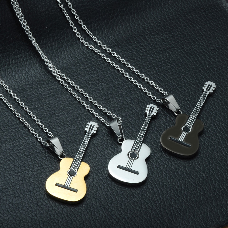 Rock Two Tone Gold Color Titanium Stainless Steel Music Guitar Pendant Necklace for Men Jewelry