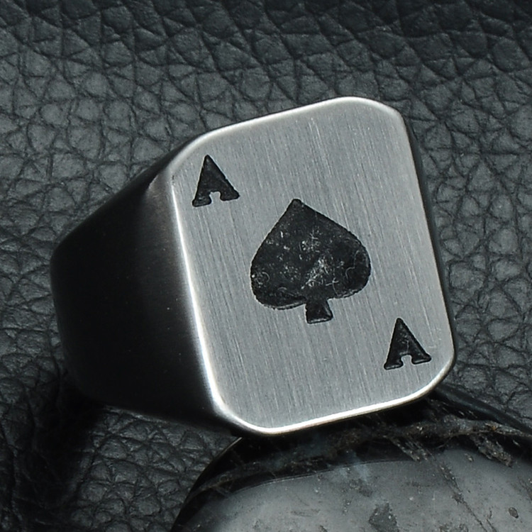 Poker Face Ace of Spades Titanium Stainless Steel Ring
