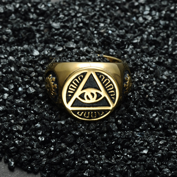 All Seeing Eye Titanium Stainless Steel Illuminati Pyramid Eye Symbol Ring