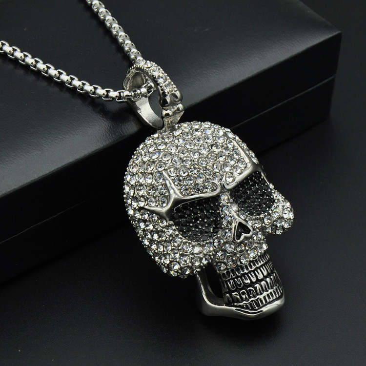 HIP Hop Titanium Stainless Steel Ice Out Bling Full Micro Pave Rhinestone Skeleton Skull Pendant Necklace for Men Jewelry