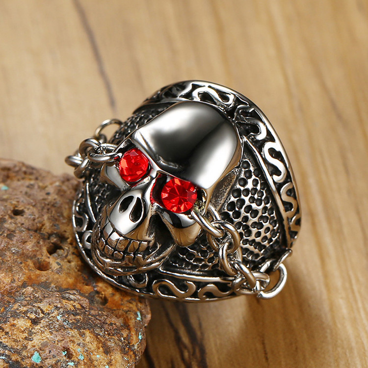 Mens Pure Funk Red Natural Stone Eyes 316L Stainless Steel Biker Skeleton Skull Ring