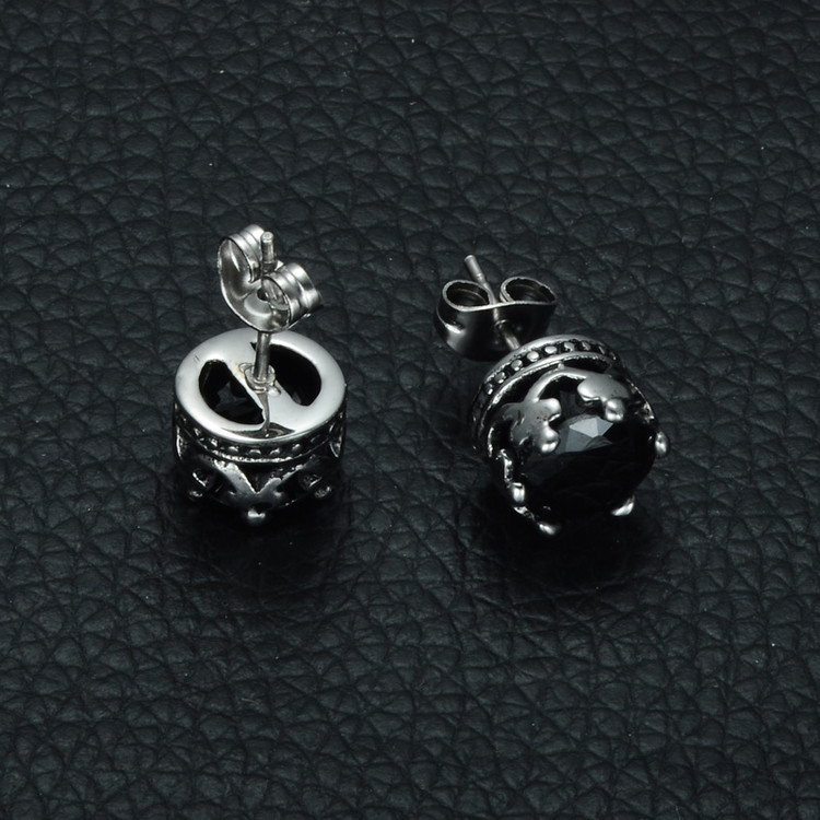 Mens Iced Out Kings Crown Round Black Simulated Diamond Titanium Stainless Steel Stud Earrings
