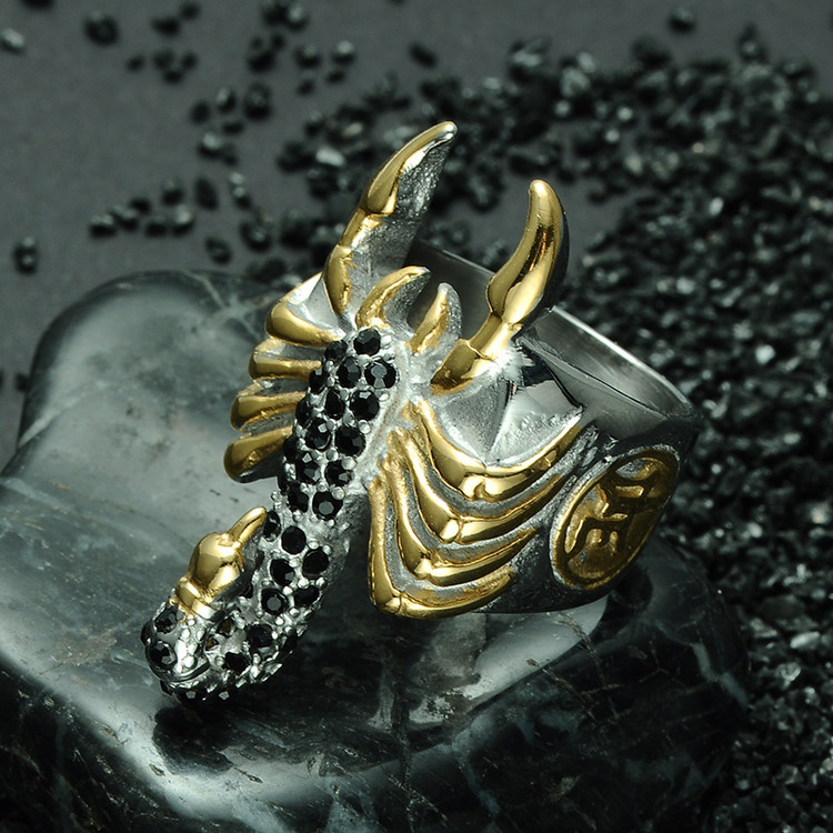 Men's Two Tone Gold Color Micro Pave Black Stone Titanium Stainless Steel Scorpion Ring