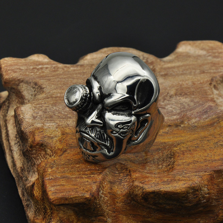 Men's Ruff Ryder Cyborg Biker Titanium Stainless Steel Skeleton Skull Ring