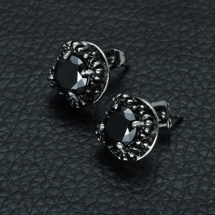 Men's Black Simulated Diamond Titanium Stainless Steel Stud Earrings