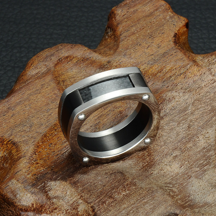 Men's Unique Geometric Square Signet Black Titanium Ring