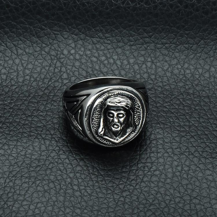 Mens Christian Jesus Piece Heavy Metal Casting Titanium Stainless Steel Ring