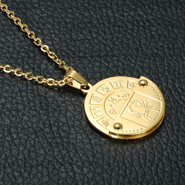 Constellation Gold Stainless Steel 12 Zodiac Round Chain Pendant
