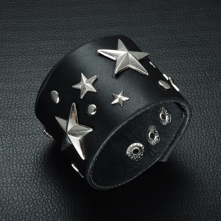 Men's Five-Pointed Star Adjustable Biker Leather Bracelet