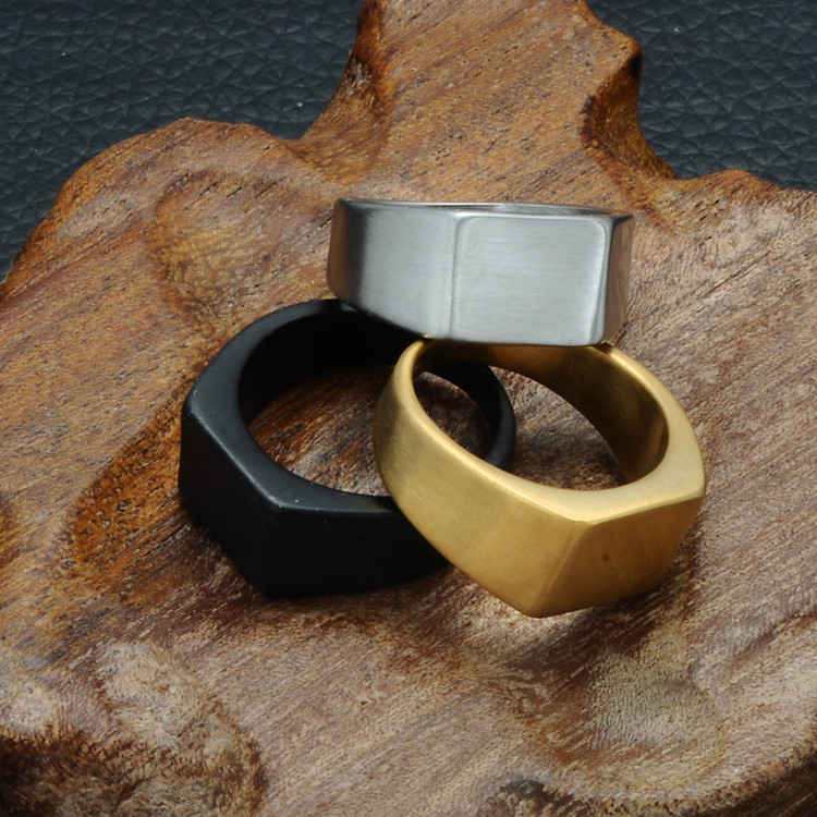 Mens Simple Style Titanium Stainless steel Geometric Square Ring