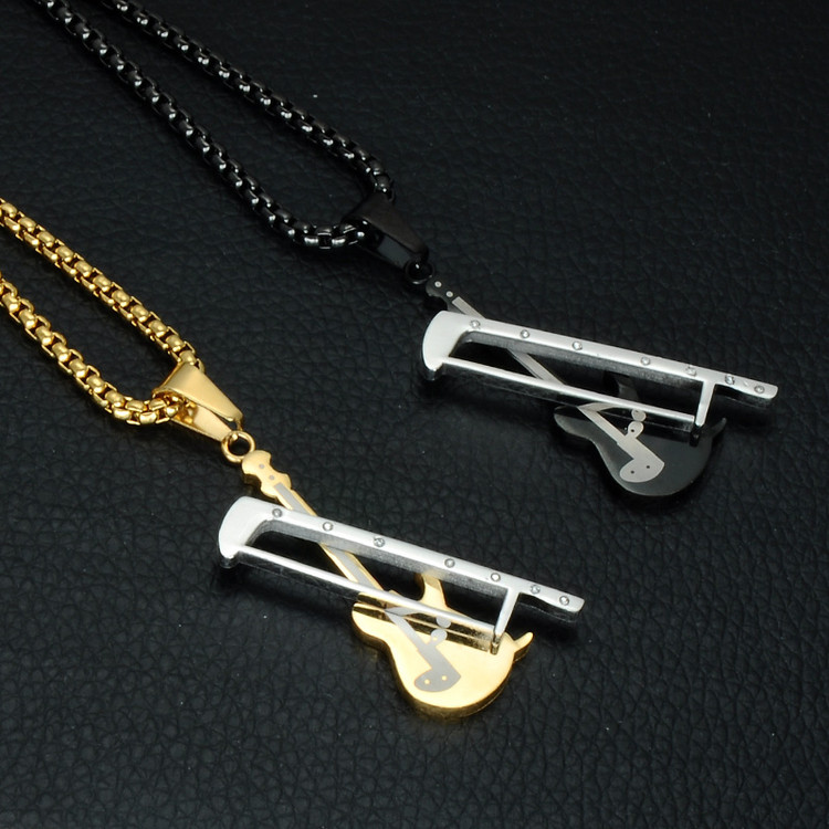 Stainless Steel Titanium Two Tone Gold Color Rock Music Violin Pendant Necklace