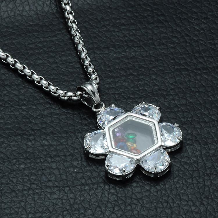 Hip Hop AAA Simulated Diamond Silver Color Natural Stone Jewish Star of David Pendant