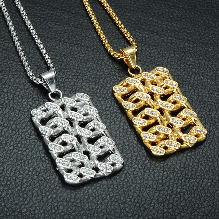 Hip Hop 14k Gold Titanium Stainless Steel Iced Out Woven Cuban Link Dog Tag Pendant Chain