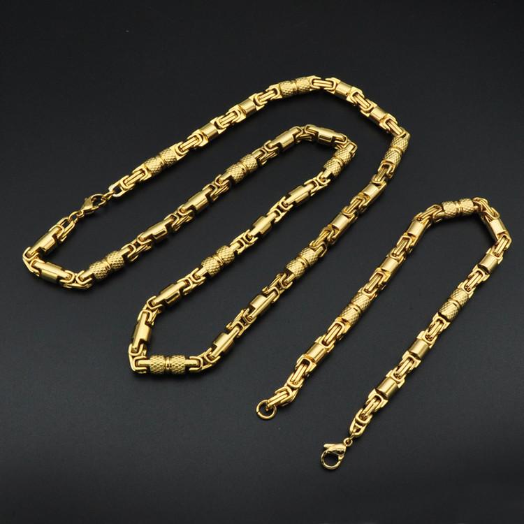 Hip Hop 6mm 23CM Titanium Stainless Steel Round Byzantine Chain Bracelet Set