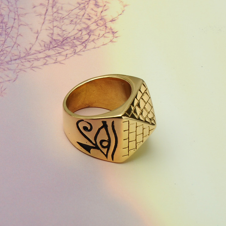 Mens 14k Gold Stainless Steel Horus Eyes Anubis African Egyptian Pyramid Ring