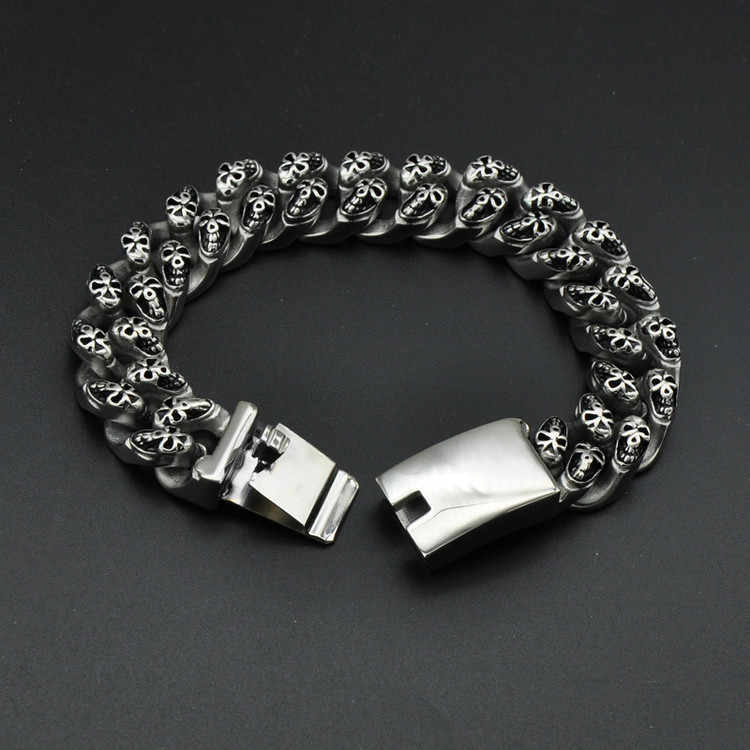 Mens 316L Stainless Steel Ghost Skull Skeleton Link Chain Bracelet