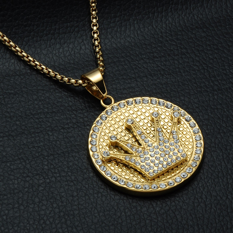 Iced Out 14k Gold Simulated Diamond Kings Crown Titanium Stainless Steel Chain Pendant