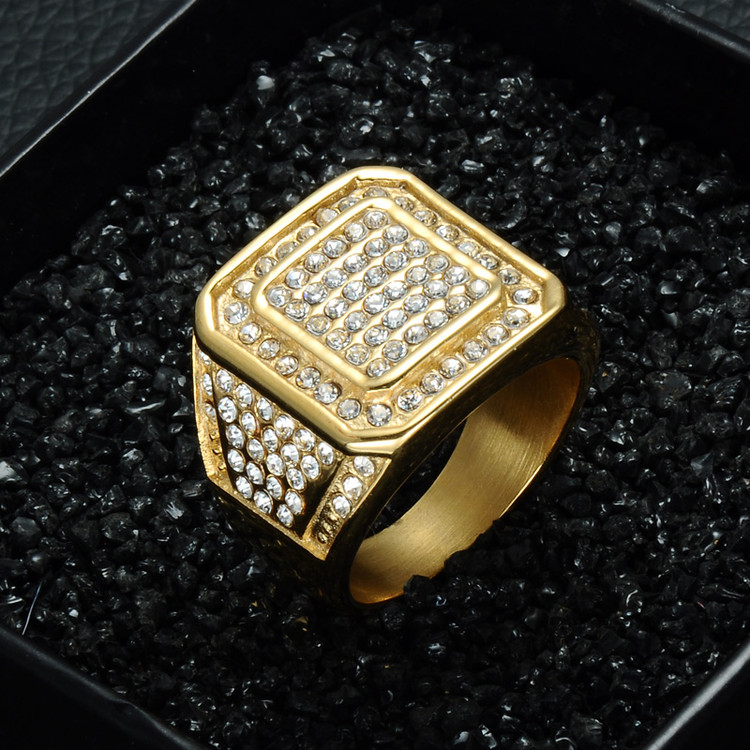 Mens Iced Out 14k Gold Square Simulated Diamond Stainless Steel Bling Ring