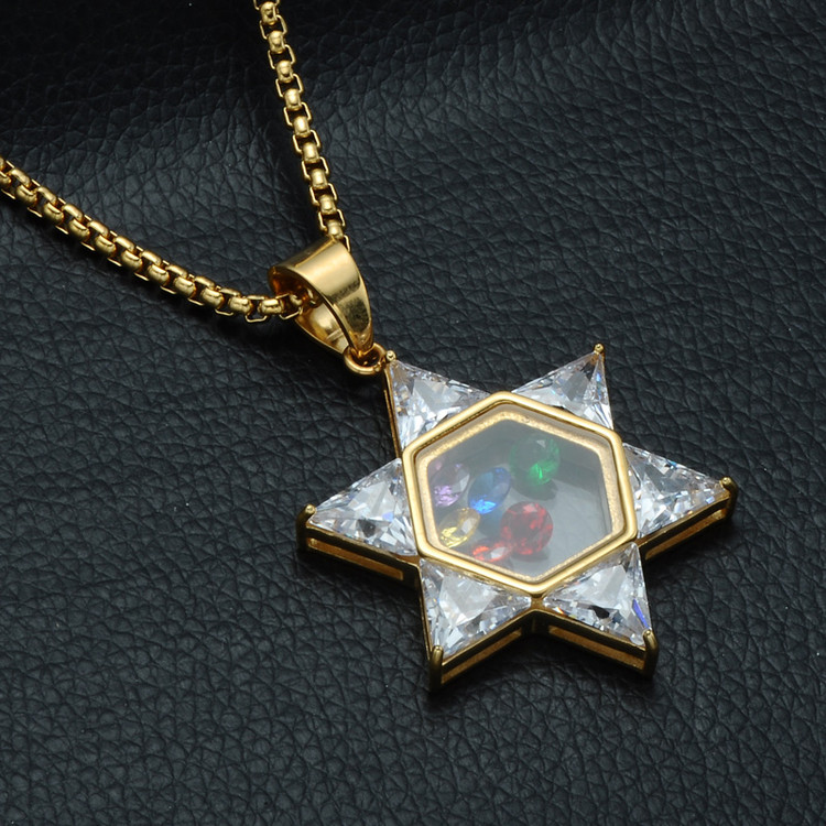 Hip Hop Simulated Diamond 14k Gold Stainless Steel Jewish Magen Star of David Pendant