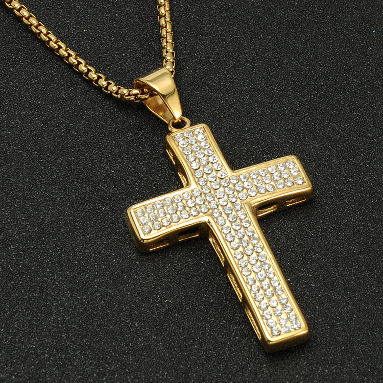 14k Gold Stainless Steel Simulated Diamond Bling Iced Out Prayer Cross Pendant