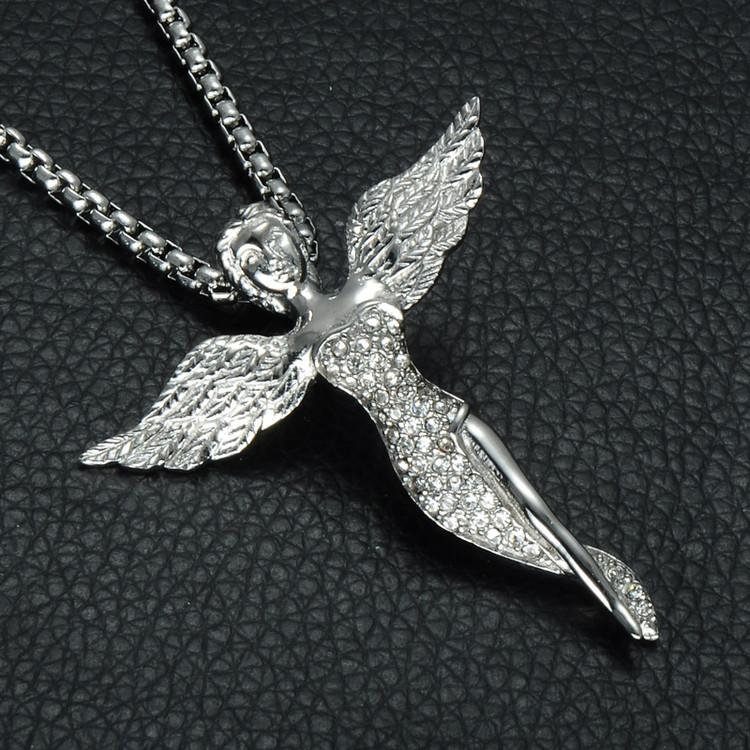 Mens Hip Hop Silver Stainless Steel Simulated Diamond Cherub Angel Prayer Pendant