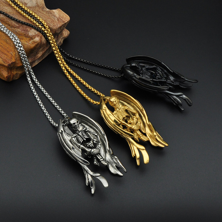 14k Gold Stainless Steel Wings Skeleton Skull Bone Chain Pendant