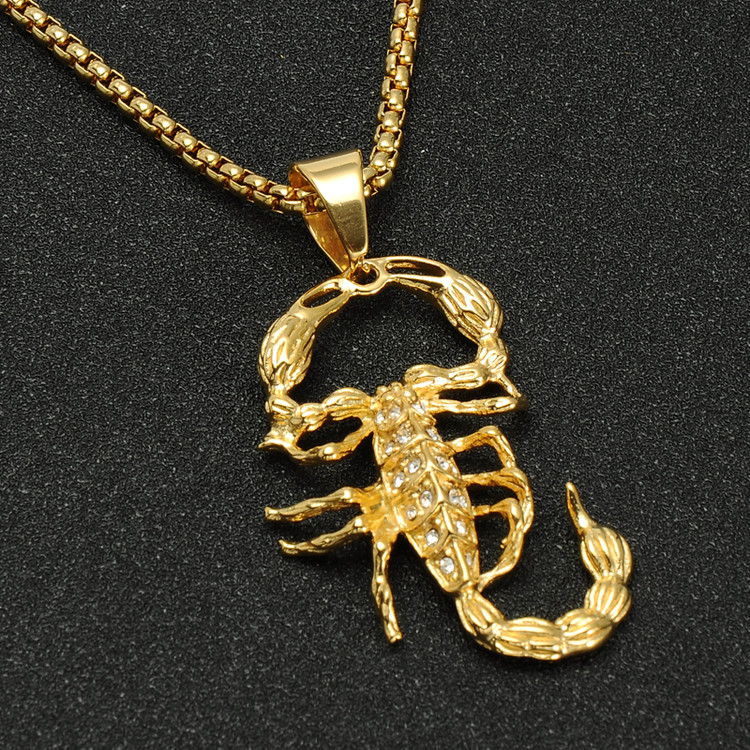 14k Gold Titanium Stainless Steel Iced Out Scorpion Pendant