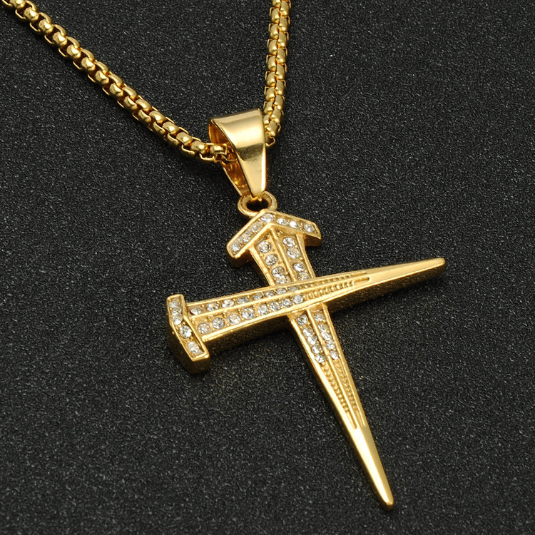 Mens Bling Iced Out Titanium Stainless Steel Jesus Nail Cross Pendant
