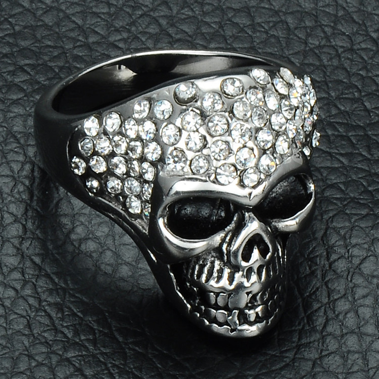 Mens Micro Pave Simulated Diamond Titanium Stainless Steel Iced Out Skull Ring