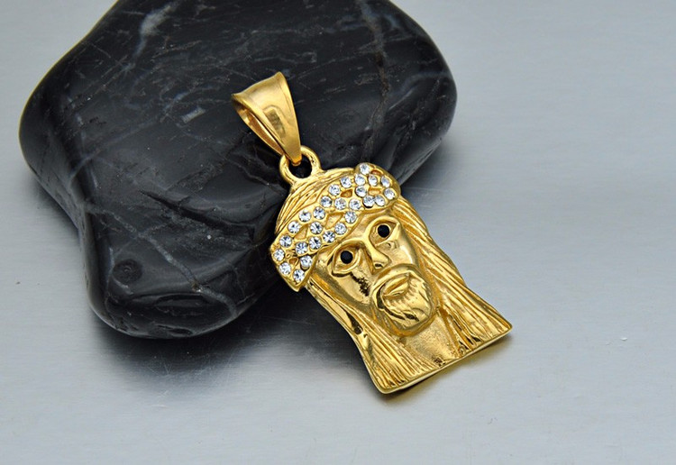 14k Gold Titanium Stainless Steel JESUS Christ Piece Iced Out Chain Pendant