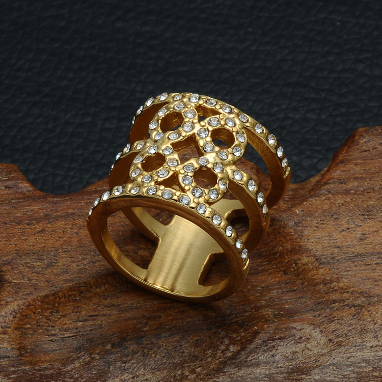 14k Gold Ladies Simulated Diamond Bling Iced Out Hollow Titanium Stainless Steel Love Infinite Ring