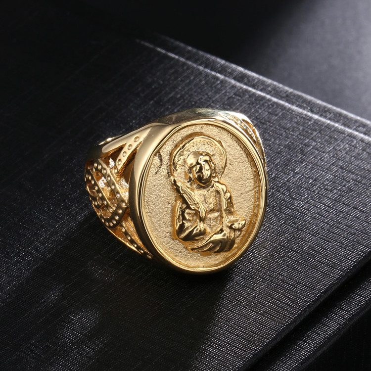 Mens Benevolent Virgin Mary 14k Gold Titanium Stainless Steel Pinky Ring
