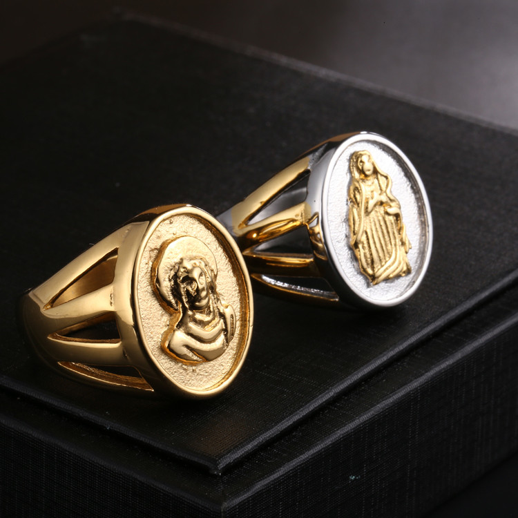 Mens Benevolent Virgin Mary Jesus 14 Gold Two Tone Titanium Stainless Steel Ring