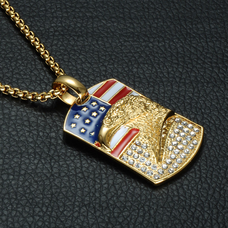 Mens American Flag Eagle Stainless Steel Iced Out Simulated Diamond Chain Pendant