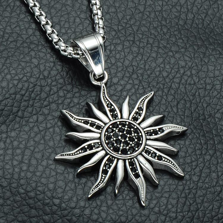 Mens Simulated Diamond Black Sun Silver Stainless Steel Chain Pendant